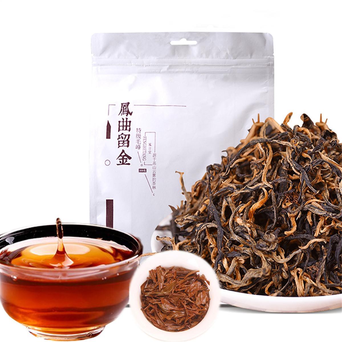 500g Çin Organik Siyah Çay FENG QU Liu Jin Yunnan Dianhong Kırmızı Çay Sağlık Yeni Çay Yeşil Gıda Promosyon Pişmiş