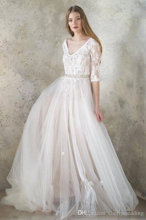 Uma linha plus size vestidos de noiva vestidos de noiva vestido de casamento frisado vestido de noiva LWD003