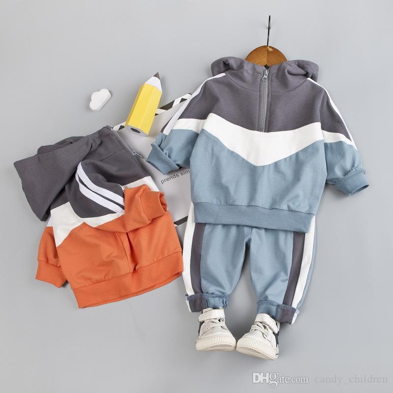 Primavera outono Roupa do bebé Set Crianças Roupa Define cor ortográfica Brasão + Pants Crianças Casual Define 1-4Years manga comprida com capuz