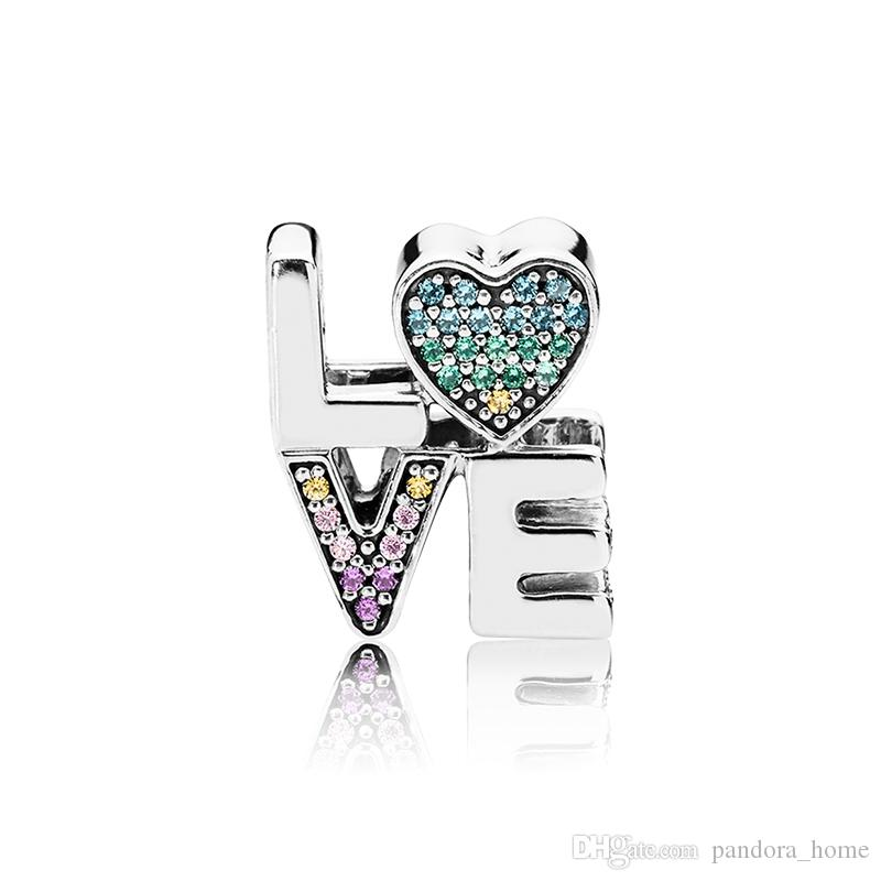 패션 CZ 다이아몬드 매력 Pandora 925 스털링 실버 럭셔리 DIY 낭만적 인 팔찌 파란색 상자 발렌타인 선물