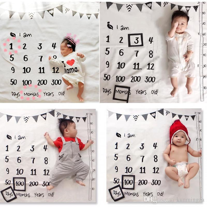 Neonato mensile Crescita Milestone Blanket fotografia puntelli sfondo di stoffa Commemorare Tappeto ragazze del ragazzo bambini coperta