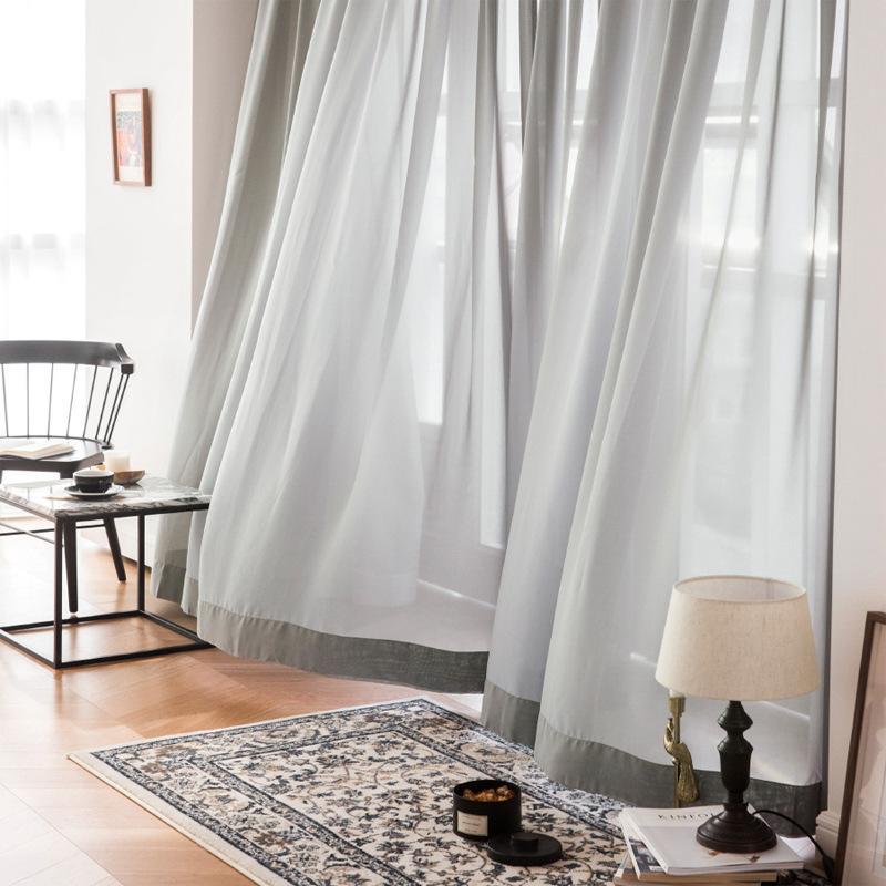 Gasa moderna de la cortina de Translucidus Sala de estar simple Gasa acabada personalizada Gasa de Georgette