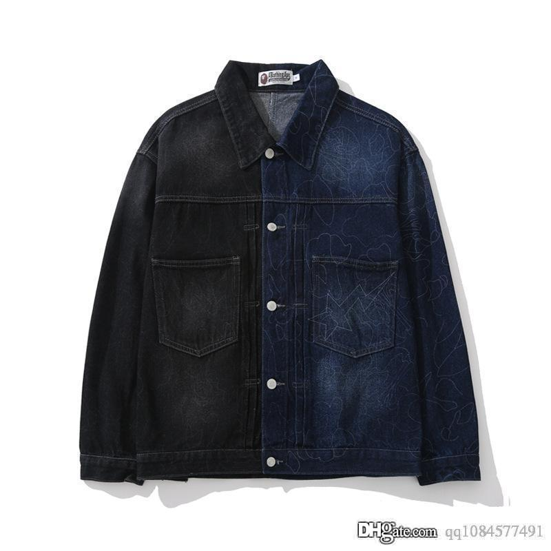 2019 New Color Matching Washed Lines Black Blue Color Matching Denim Clothing Men Women Jacket Mens Designer Jackets