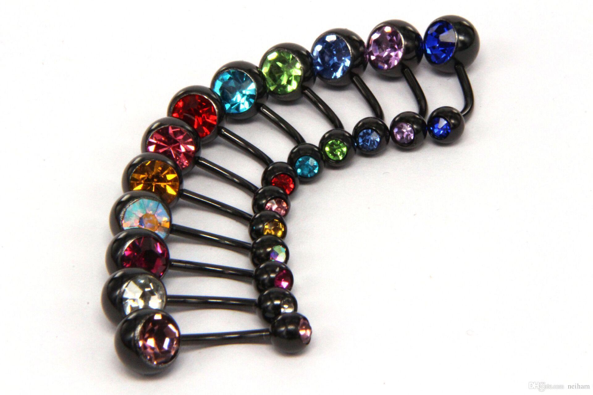 anillo de ombligo colores de la mezcla Anodizado negro joyería piercing del cuerpo de acero inoxidable joya doble ombligo anillo del vientre