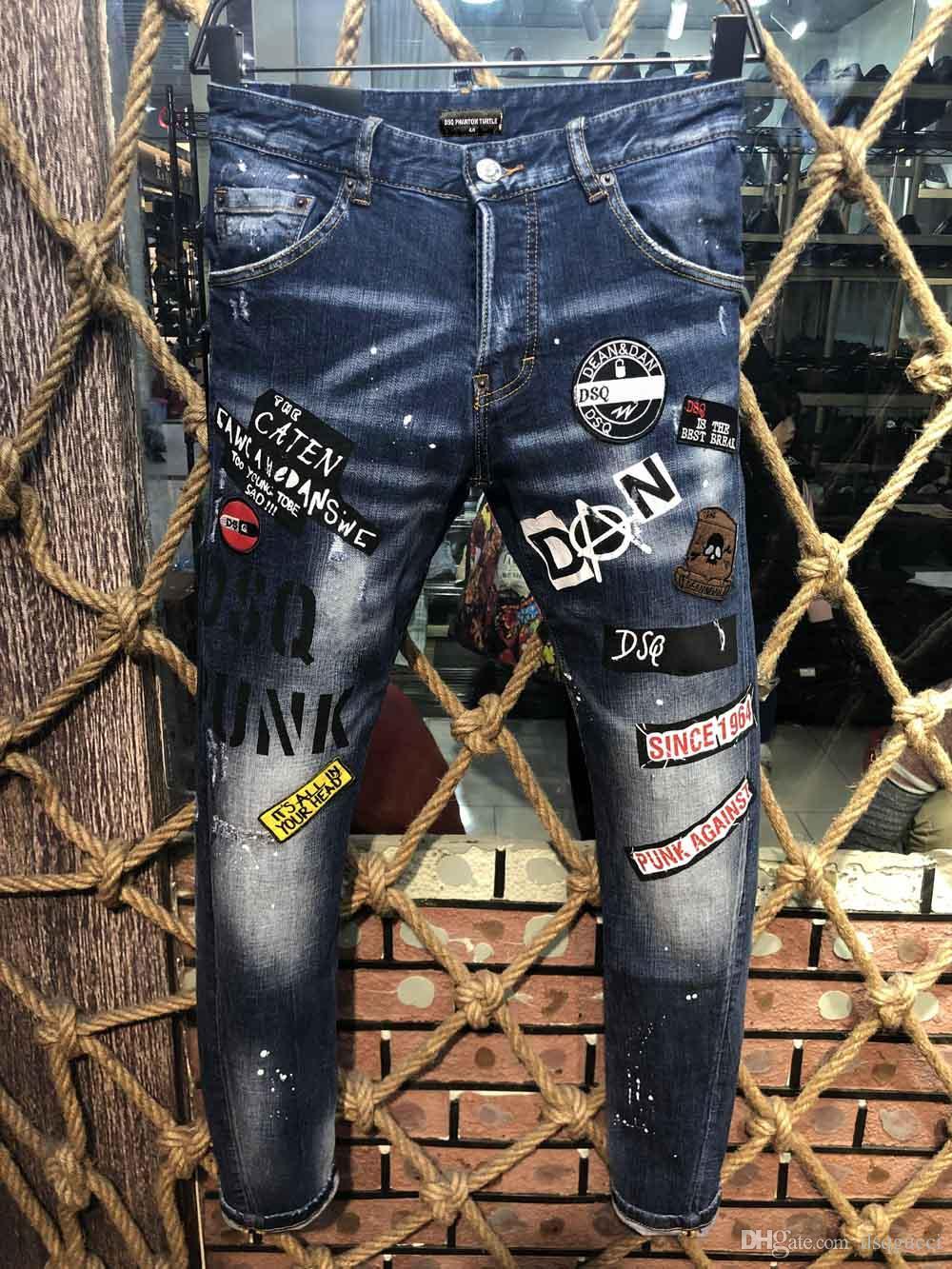 DSQ Phantom Tortue Classic Mode Homme Jeans Hip Hop Rock Moto Mens Casual Design Décontracté Jeans Détresse Skinny Denim Biker DSQ Jeans 6934