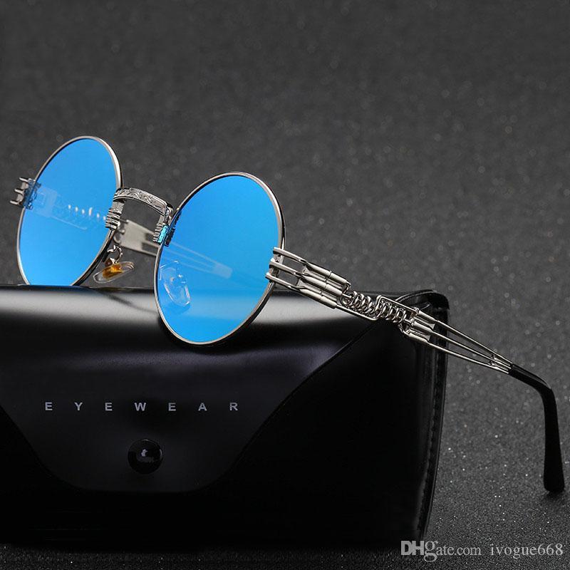 Güneş gözlüğü Erkekler Moda Marka Tasarımcı Açık Spor Güneş Gözlükleri UV400 Sürüş Balıkçılık Yuvarlak Ayna Mavi Sunglasess Gotik Steampunk Sunglass