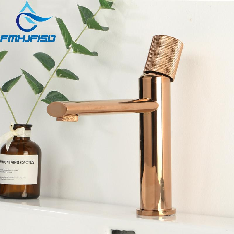 wholesale Rose Gold Burhsed Gold Nickel Basin Faucet Stylish elegant Single Hole Bathroom Mixer Taps 3 Colors for Choose