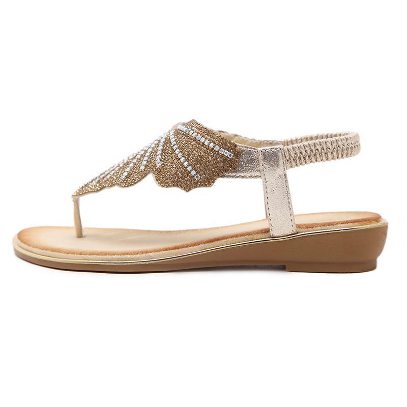 Hot Sale-été Sandales d'aile de papillon femmes flip flops salomés Thong Sandales Designer bande élastique strass sandales pour les femmes Wedges