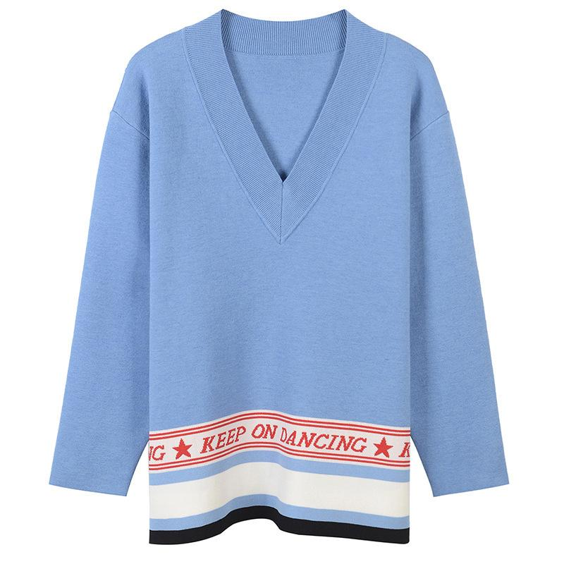 Letters And Star Jacquard Jumper New Spring Women Sweater Pullover Knit Top Sweet Soft Jersey Sueter Mujer Runway
