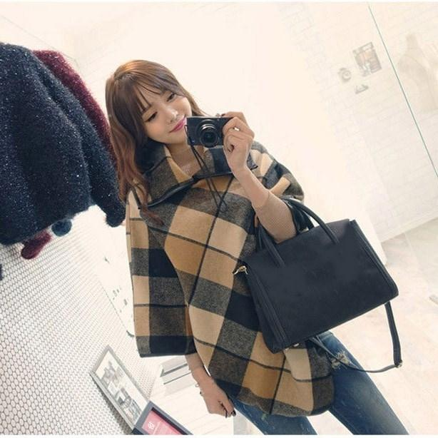 Winter Women Casual Woolen Coat Overcoat Turn-Down Collar Shawl Cape Blendfeminino Loose Warm Coats Outerwear Overcoat Y191102