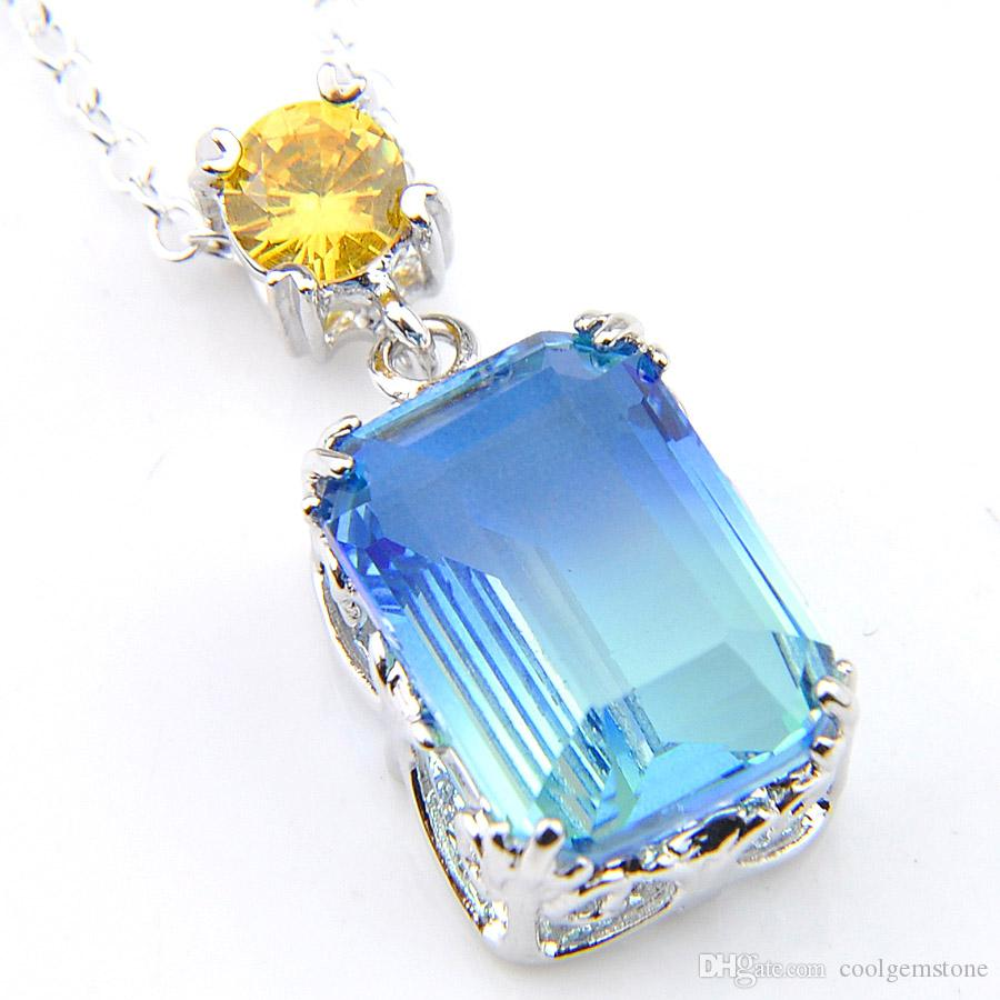 Wholesaleラッジーシャネ12ピース1ロットユニークな火Blue Bi Color Tourmaline GemstoneシルバーペンダントネックレスHoliay Friend Family Gift