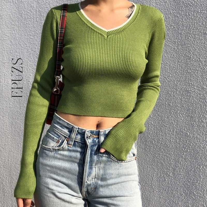 여성용 스웨터 카와이 섹시한 자르기 스웨터 여성 핑크 니트 스트리트웨어 겨울 옷 풀오버 전체 2021