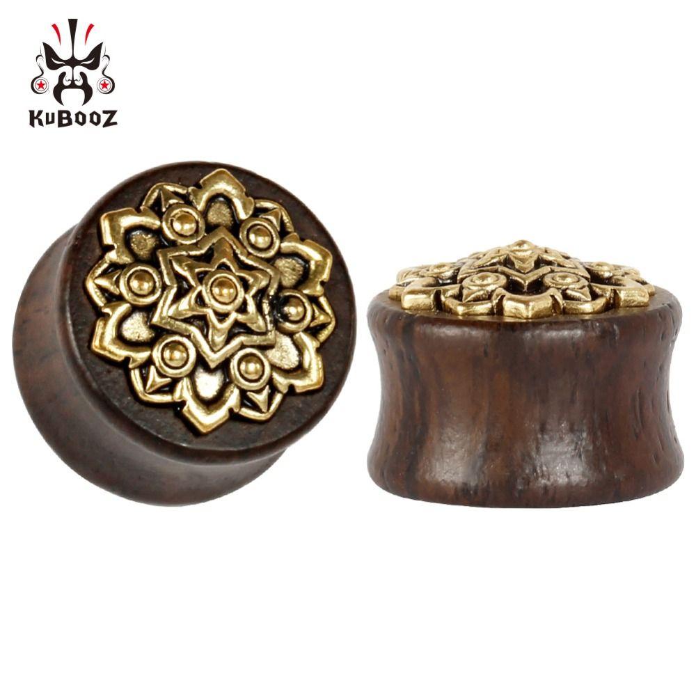 2018 Kubooz ثقب الخشب معدن الكريستال الأقراط سدادات الأذن الأنفاق هيئة المجوهرات المتوسع بالجملة مقاييس الأذن
