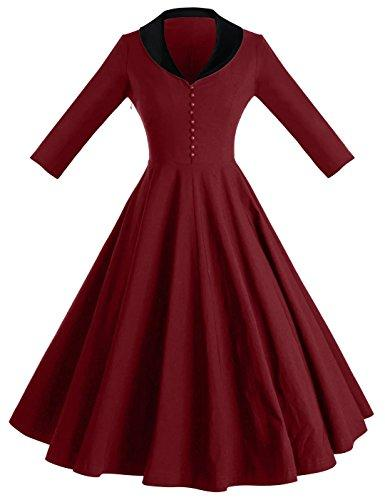 GownTown Womens 1950s Cape Collar Vintage Swing Stretchy ...