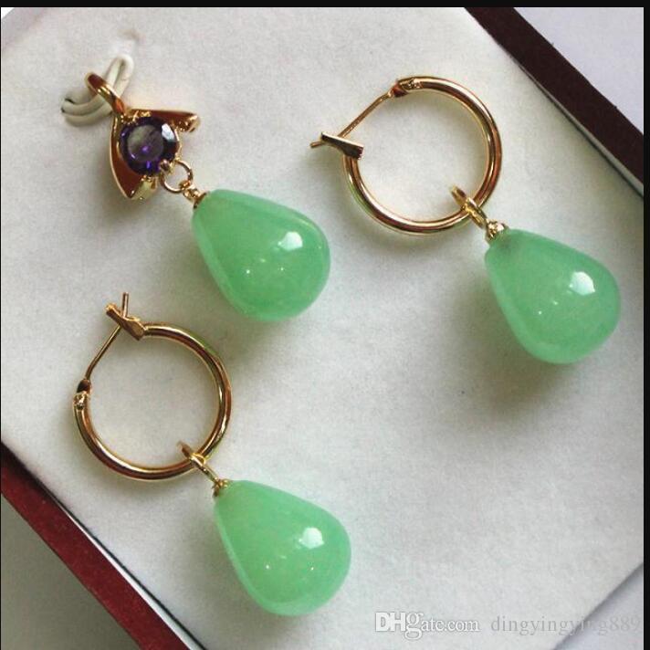 joalharia quente vende new-Hot! beautiful new jewelry 12 * 16mm green jade pendant, earring set