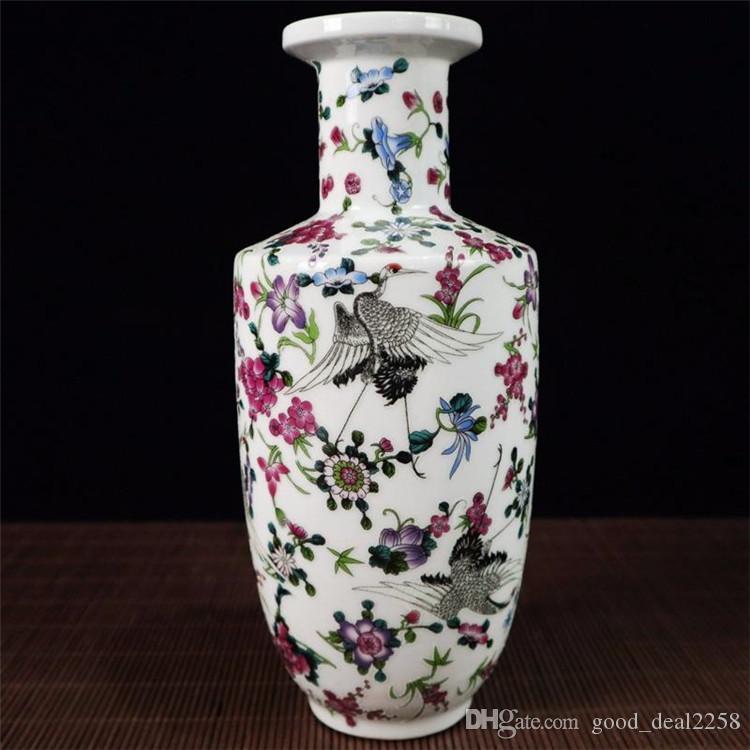 Chinês requintado porcelana pastel pintura guindaste padrão vaso
