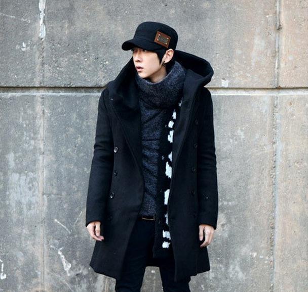 otoño e invierno de lana de chaqueta de abrigo de la moda coreana de la chaqueta rompevientos con capucha cruzado capa de los hombres de los hombres americanos europeos