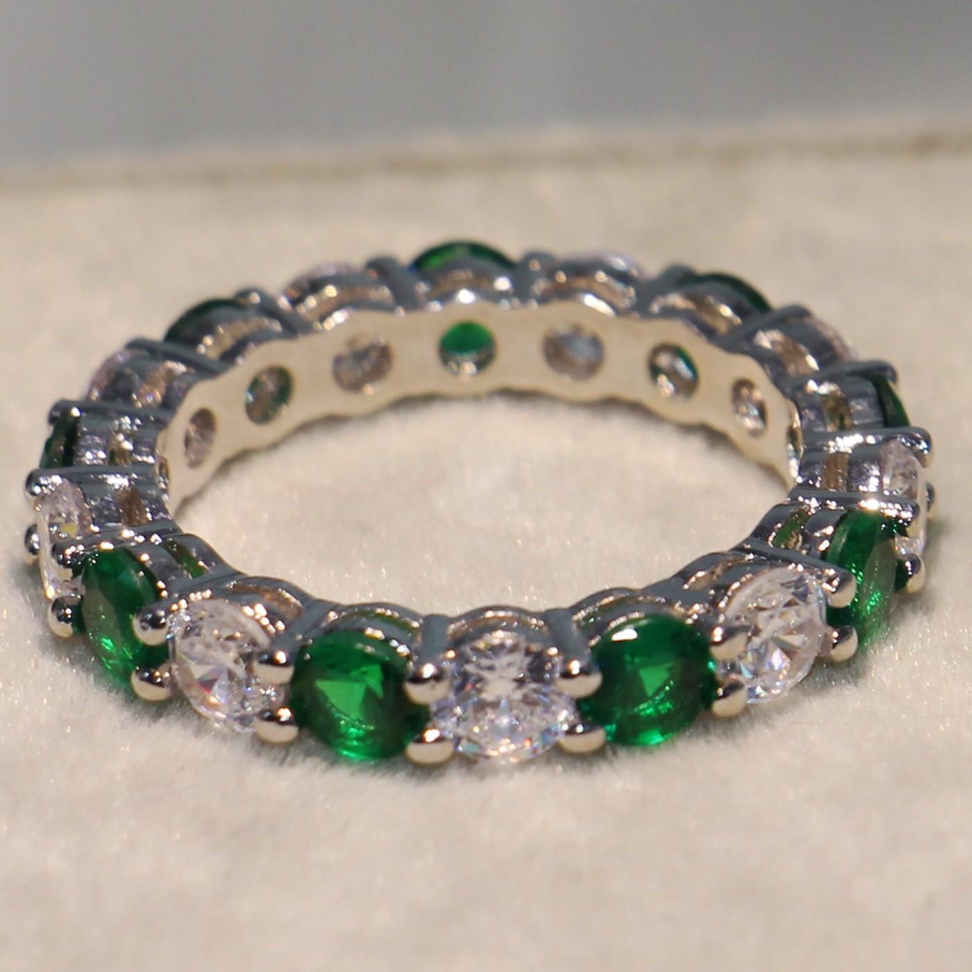 بالجملة، المجوهرات الفاخرة متألقة العلامة التجارية الجديدة 925 جولة الفضة قطع الزمرد زركونيا شعبي المرأة الزفاف الدائرة باند الطوق هدية CZ