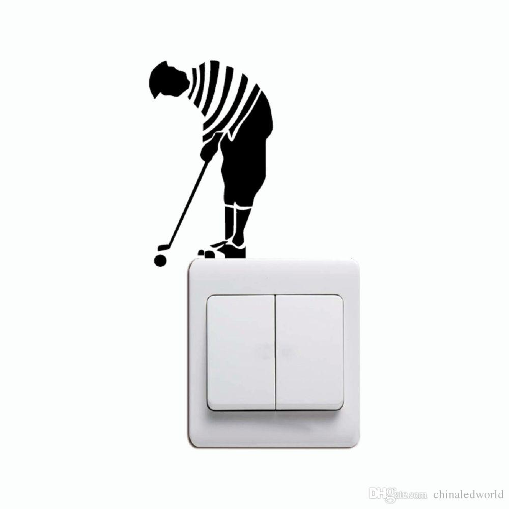 KG-240 Uomini che giocano Golf Light Switch Sticker Cartoon Golfer Adesivo da parete in vinile