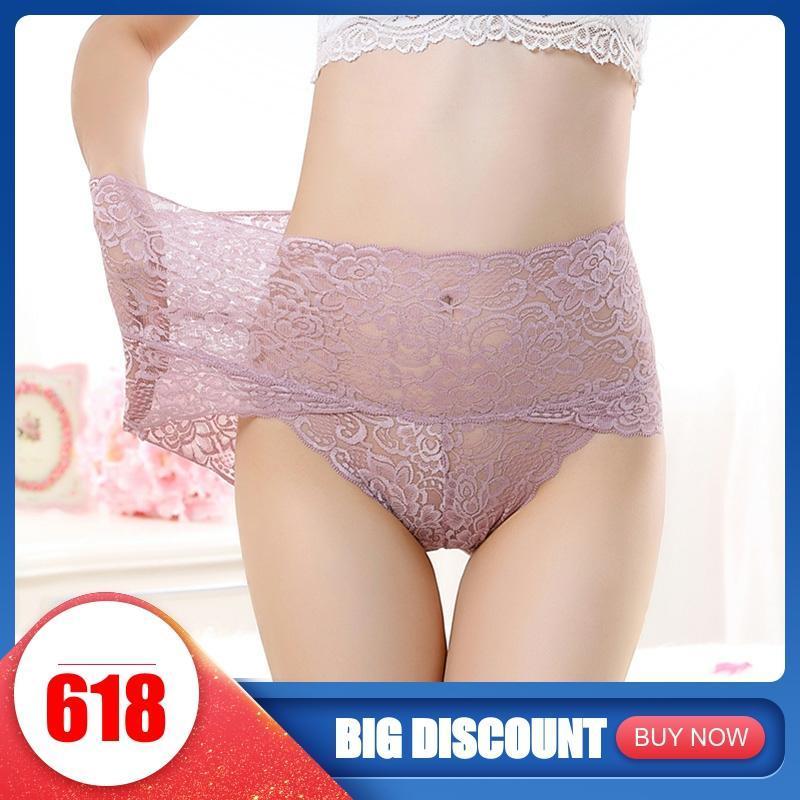 High Rise Transparent Women's Panties Women Lingerie Woman Underwear Culottes Femme Ladies Lace Cotton Plus Size xxxl Underpants