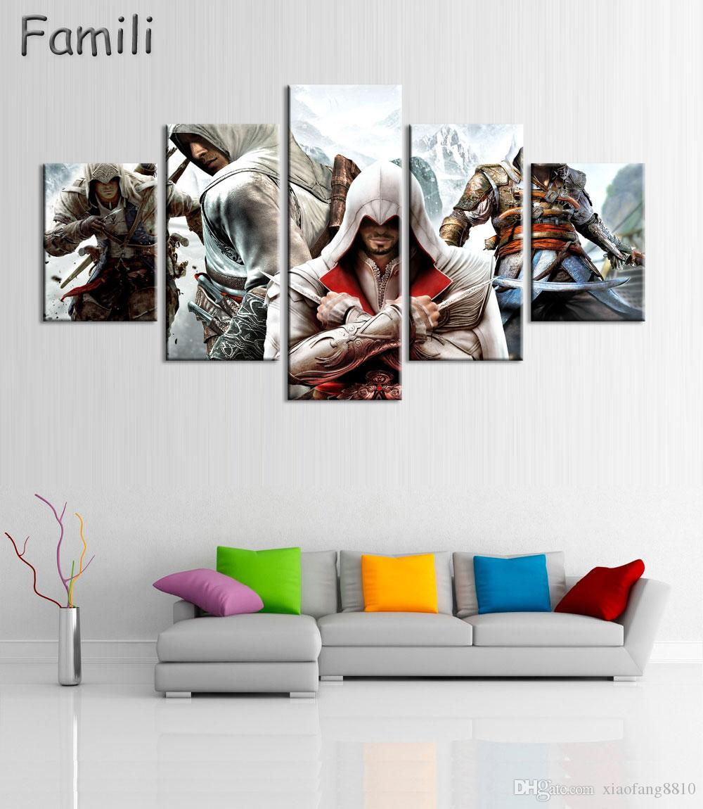 5Panel HD Printed Canvas painting Assassins Creed Video Game Poster Boys Room Decor Canvas Print Poster Picture Wallpaper