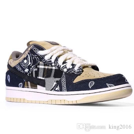 2020 Travis Scotts x SB Dunk Low para hombre de los zapatos corrientes de las mujeres Cactus Jack monopatín Formadores des Chaussures Zapatos Zapatos Sport zapatillas de deporte