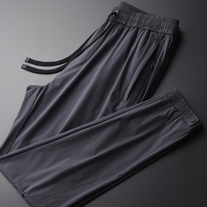 Summer Thin Mens Luxury Silky Fabric Slim Casual Ankle-length Plus Size 4xl Elastic Waist Ankle-tied Pants