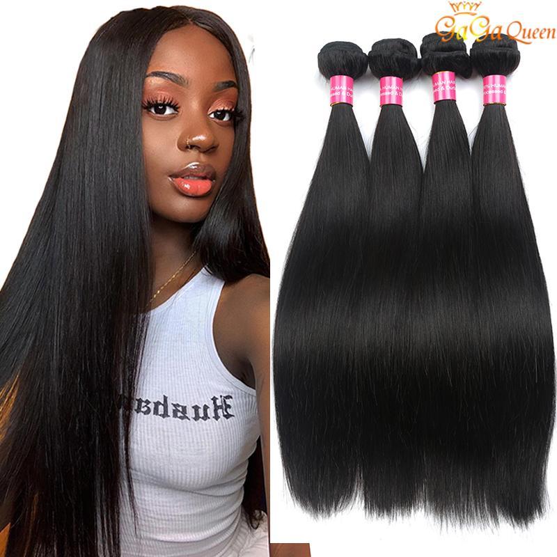 Braziliaanse Virgin Hair Straight 4 Bundels Menselijk Hair Extensions Gaga Queen 9a Braziliaanse rechte menselijke haar weeft kleurbare natuurlijke kleur