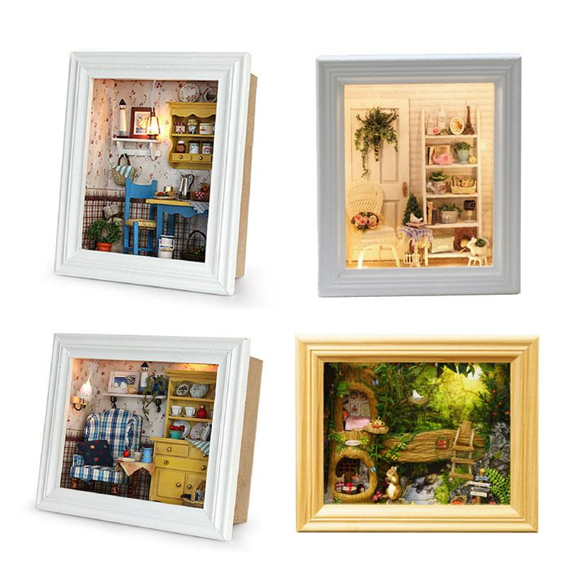 Doll House Wooden Frame Miniature Dollhouse With Furniture Kits Diy House Model Assemble Craft Toys For Children Birthday Gift Y19070503