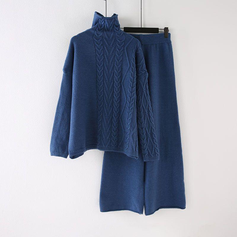 Gestrickte Pullover Anzug Frühjahr und Herbst Frauen 2019 neue Art und Weise Winter Verdickung Pullover + breite Beinhosen Zweistück Set