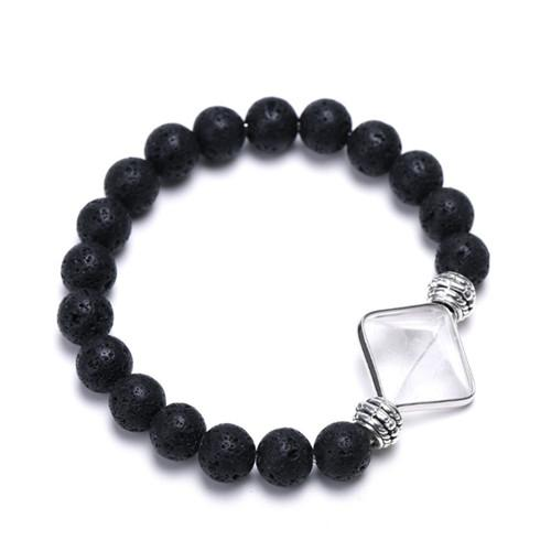 Wholesale 10 Pcs Trendy Silver Plated Pyramid Connect Opalite Opal Elastic Bracelet Black Lava Stone Jewelry