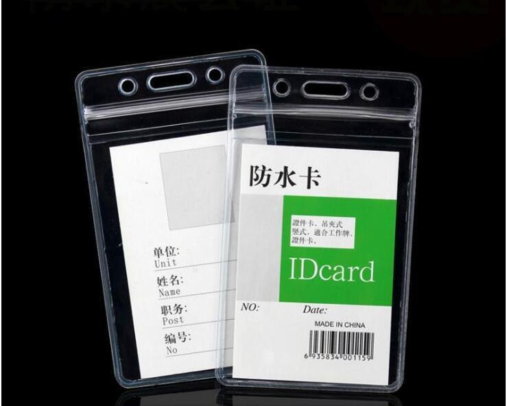 Transparente Vertical Horizontal 70X110mm 80X98mm macias Waterproof ID Badge detentores de nomes de PVC Card Case frete grátis