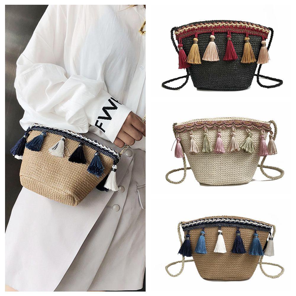 Bolsas 3 estilos fiesta borla bolsa de hombro mujeres tejiendo mensajero cruz cuerpo desiger para bolso de bolso FFA1904 Vintage Raamk