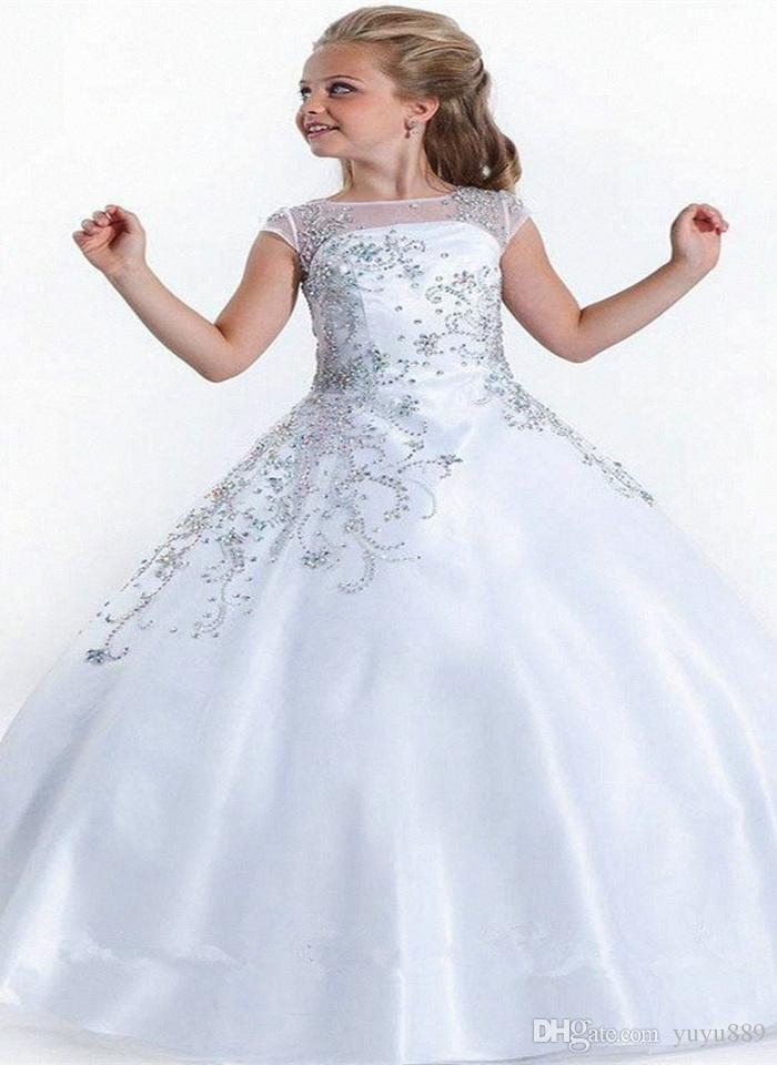 Lace A Line Flower Girl's Dresses Tulle Lace Applique Layered Ruffles Floor Length Girl's Birthday Party Pageant Dresses