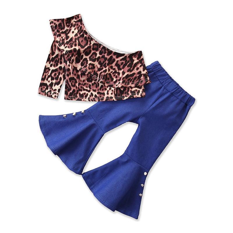 Bambini Ragazza Leopard Tees Set Set Baby Girl Spalla Leopard Stampato Tops Camicia Abbigliamento Abiti Pantaloni Abiti Bambini Primavera Estate Boutique Costume