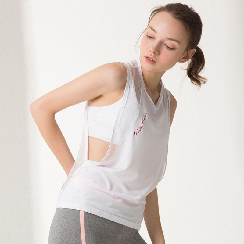 T-shirt da ioga Mulheres Yoga Regatas Esportes camisas sem mangas Vest oca-out malha sexy da aptidão Quick Dry Roupa Desportiva Top