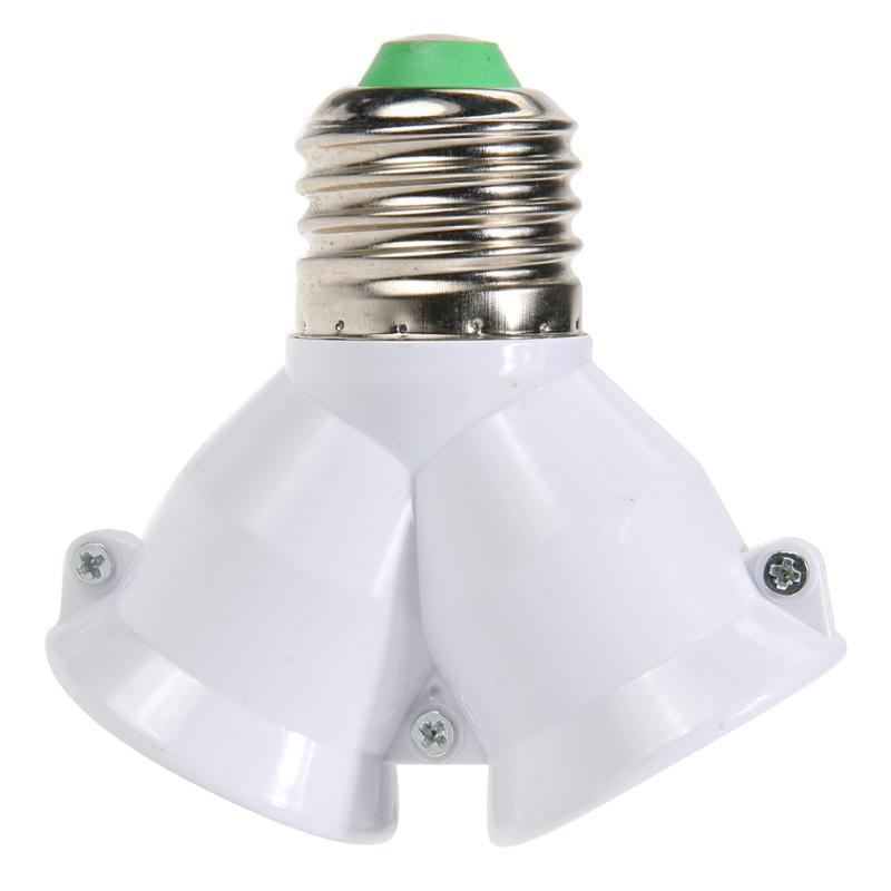 2 in 1 Doppel-E27 Sockel Basis Extender-Teiler-Stecker Halogen-Lampen-Birnen-Halter-Kupfer Kontakt Adapter-Konverter