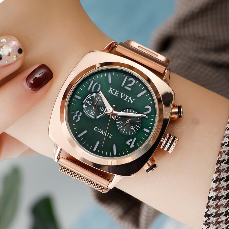 Rose Gold Praça Mulheres relógio de aço inoxidável magnética relógio de pulso à prova d'água Ladies Para Montre Femme 2019 Relógio Feminino presente