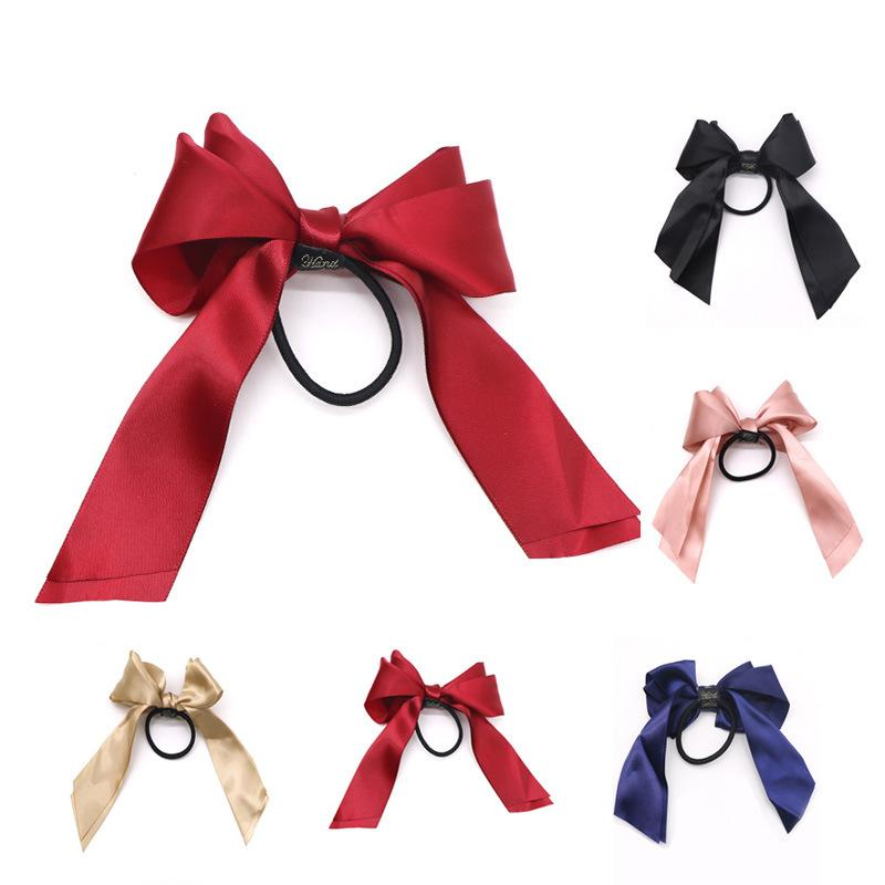 5 Color summer Ponytail Scarf Elastic Hair Rope Hair Bow Ties Scrunchies Hair Bands Flower Print Ribbon Hairbands Party Favor DHL WX9-1807