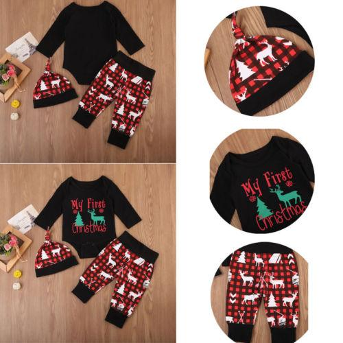 2018 infante recién nacido niño de los bebés de los bebés de algodón de Navidad Casual populares Print Romper Pantalones largos Trajes Sombrero 0-24 M Set