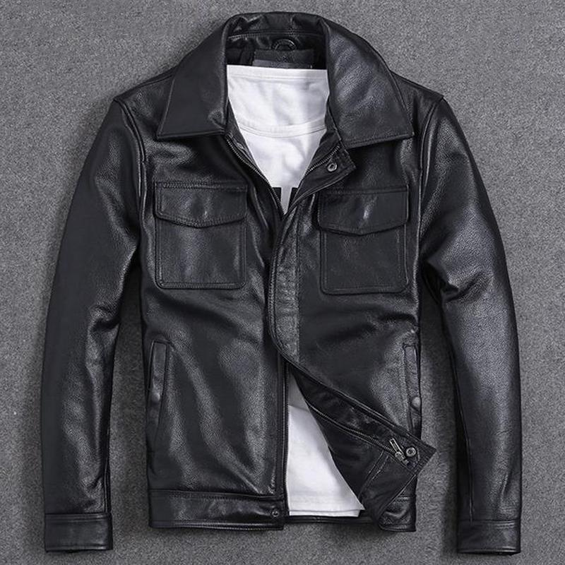 Motorcycle Cowhide Short Leather Jackets and Coats For Men Vintage Casual European Streetwear Spring Mens Brand Clothing A972
