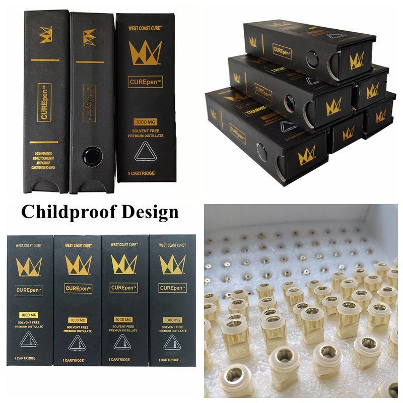 Curepen 0.8ml Jaute Vape Pen Vape Cartouche d'emballage Gold 1ML Céramique DAB CIRAMIC Cire Vaporisateur Atomizer E Cigarettes 510 Batterie de fil