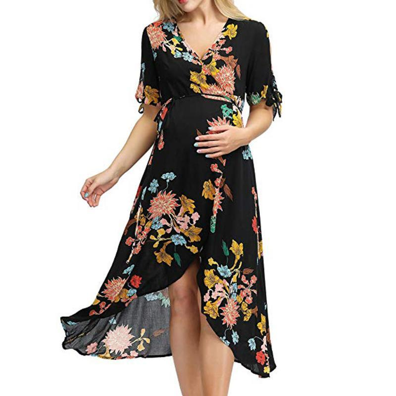 Maternity dress Short Sleeve Prints Floral Frenulum skirts Dresses For Pregnant Women Clothes Breastfeeding Lady Clothes