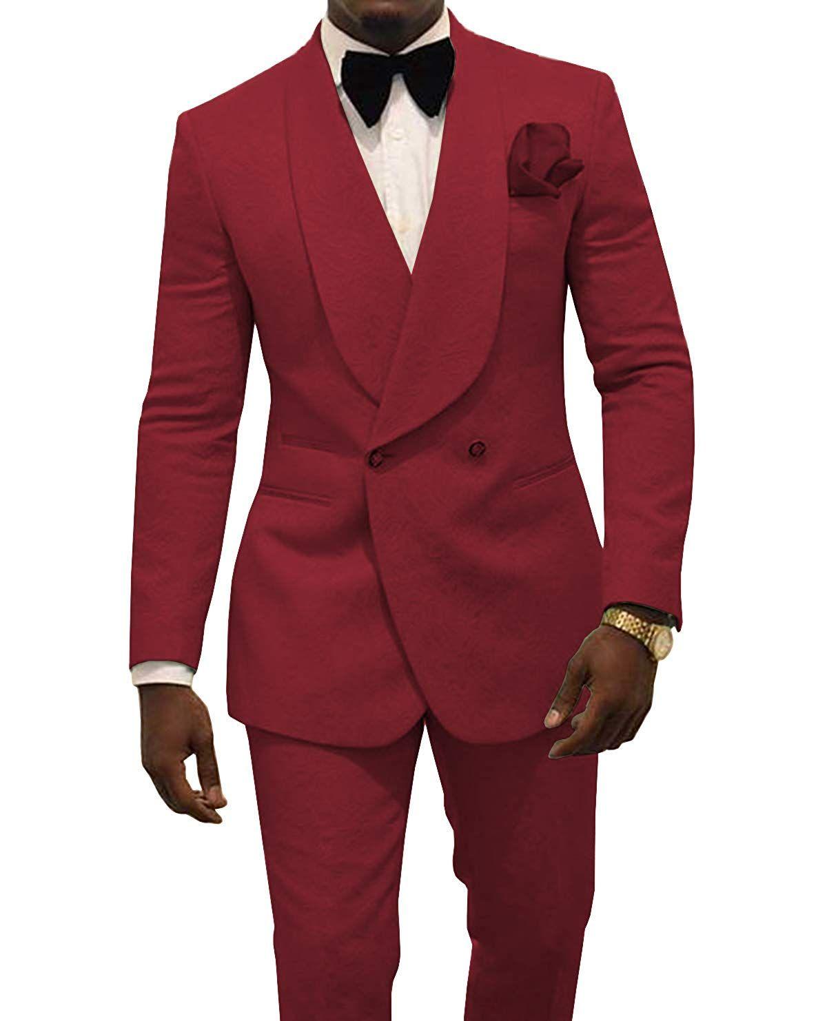 2021 scialle risvolto smoking smoking sposo usura vestiti Borgogna Groomsmen Slim Fit Formale Dinner Abiti da uomo Abiti da uomo (giacca + pantaloni + prua)