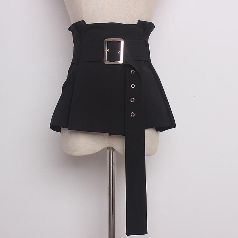 2020 Yeni Moda İlkbahar yaz Kadınlar Siyah Şık bez Geniş Bant Wrap Kemer Etek Peplum Bel Kemeri