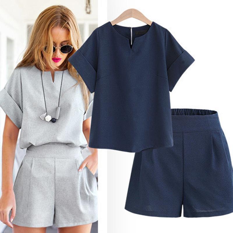 Kadınlar 2019 Yaz Casual Pamuk Keten V Yaka Kısa Kollu Şort İki Adet Set Kadın Bürosu Suit Set Kadın Kostümler 5XL Tops