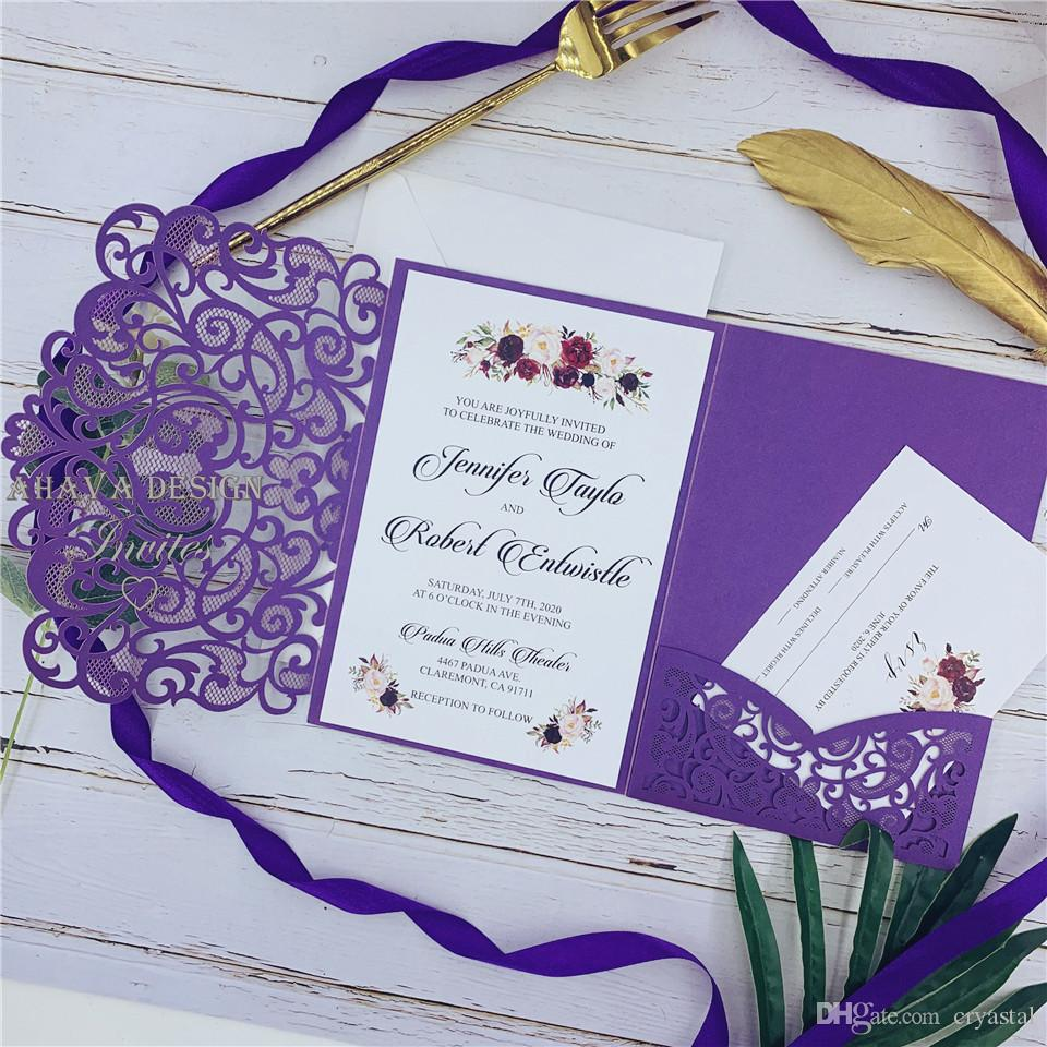 Shimmery Purple Laser Cut Pocket Wedding Invitation Suites Customizable Invites With Respond Card And Envelope Wedding Invitation Card Designs
