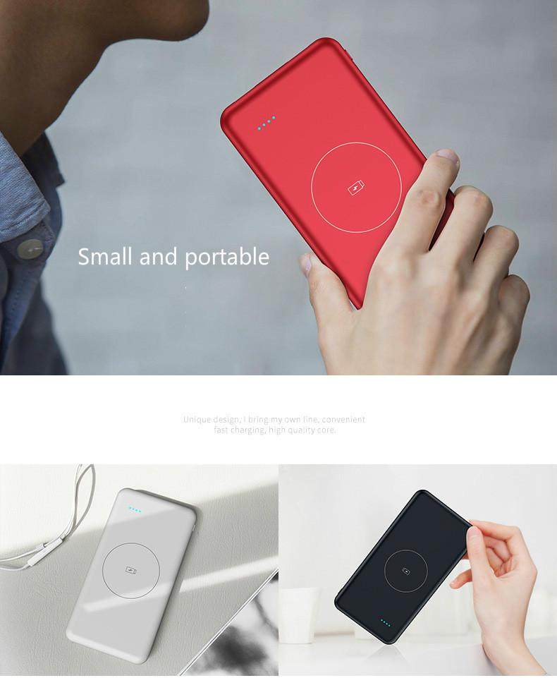 good sale Wireless charger 10000 Ma ultra thin wireless mobile power supply