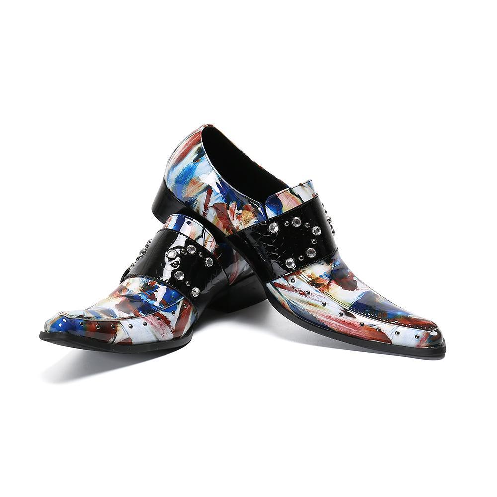 Кристия Белла Мужская Handmade Мода Плюс Размер Multicolor натуральной кожи Обувь Мужской Rhinestone Пряжка острым носом ночной клуб обувь