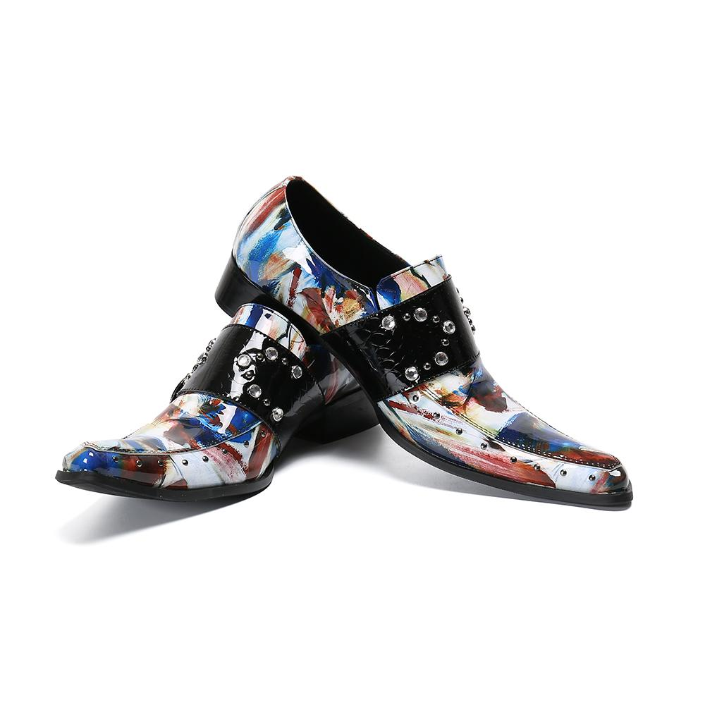 Christia Bella Men's Handmade Fashion Plus Size Multicolor Real Leather Shoes Male Rhinestone Buckle Pointed Toe Nightclub Shoes